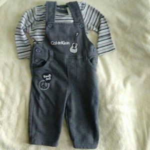 6-9 month Calvin Klein Overalls outfit